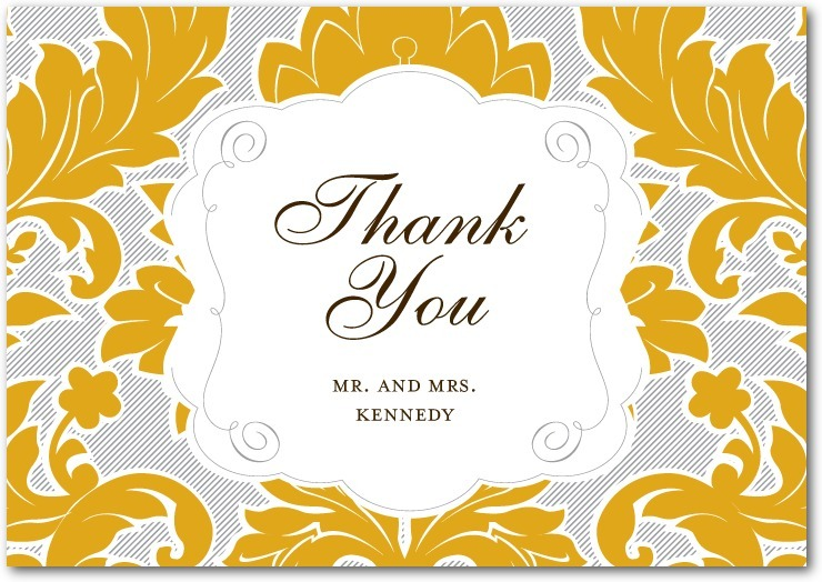 Signature premium thank you cards, Striped Damask