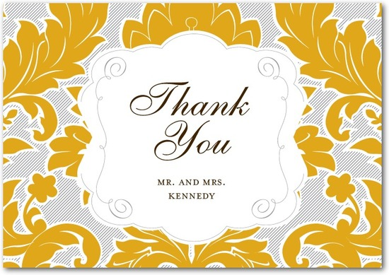 photo of Signature premium thank you cards, Striped Damask