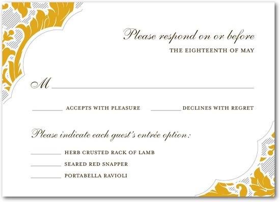 Signature letterpress wedding response cards, Striped Damask