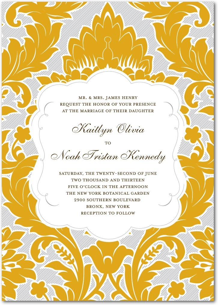 Signature letterpress wedding invitations, Striped Damask