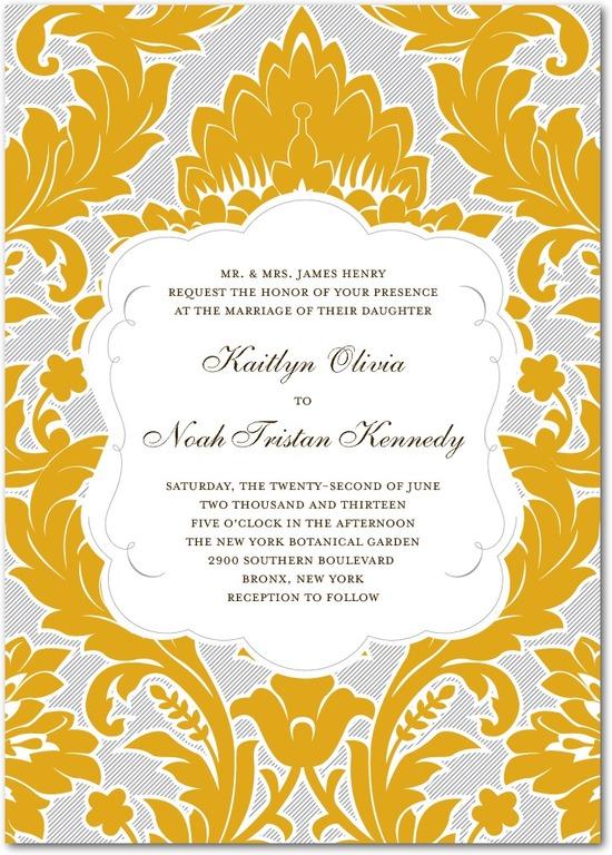 photo of Signature letterpress wedding invitations, Striped Damask