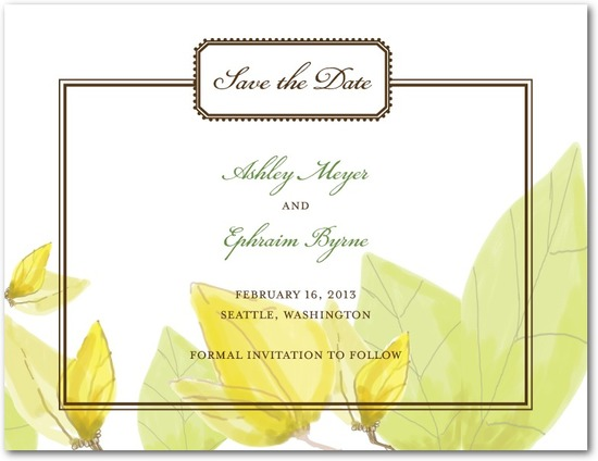 photo of Signature white textured save the date cards, Mellow Elegance