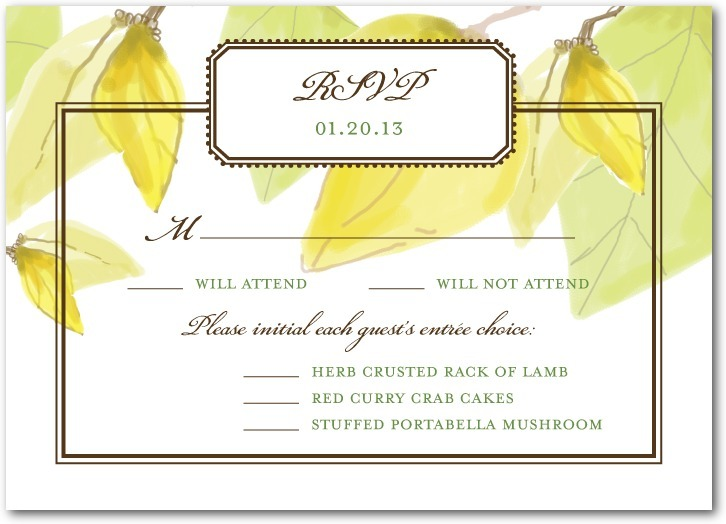 Signature white textured response cards, Mellow Elegance