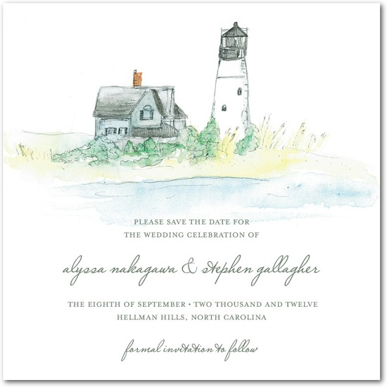 photo of Signature white textured save the date cards, Serene Seaside