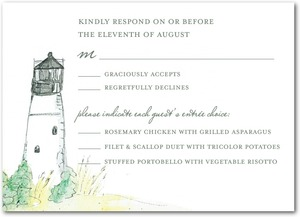 photo of Signature white textured response cards, Serene Seaside