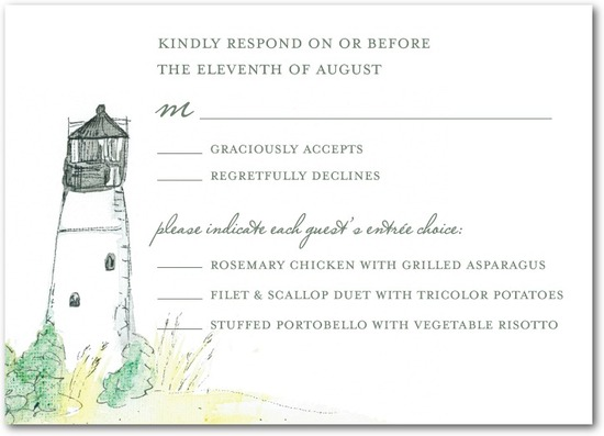 Signature white textured response cards, Serene Seaside