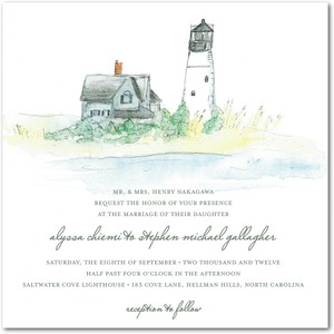 photo of Signature white textured wedding invitations, Serene Seaside