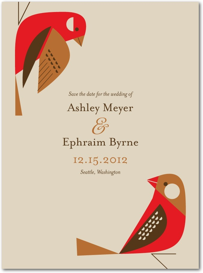 Signature white save the date cards, Fine Finches