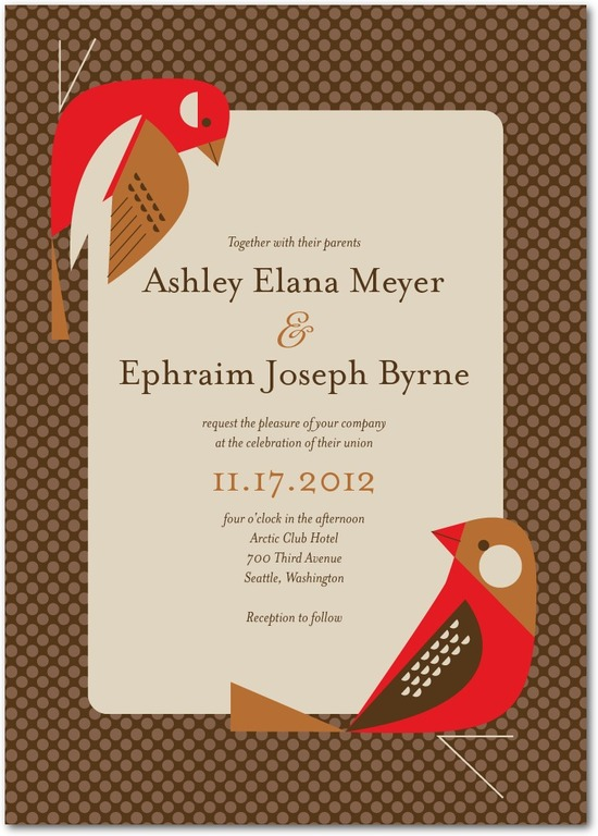 Signature white wedding invitations, Fine Finches