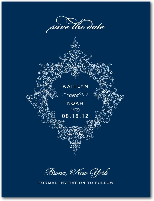 photo of Signature white save the date cards, Opulent Crest