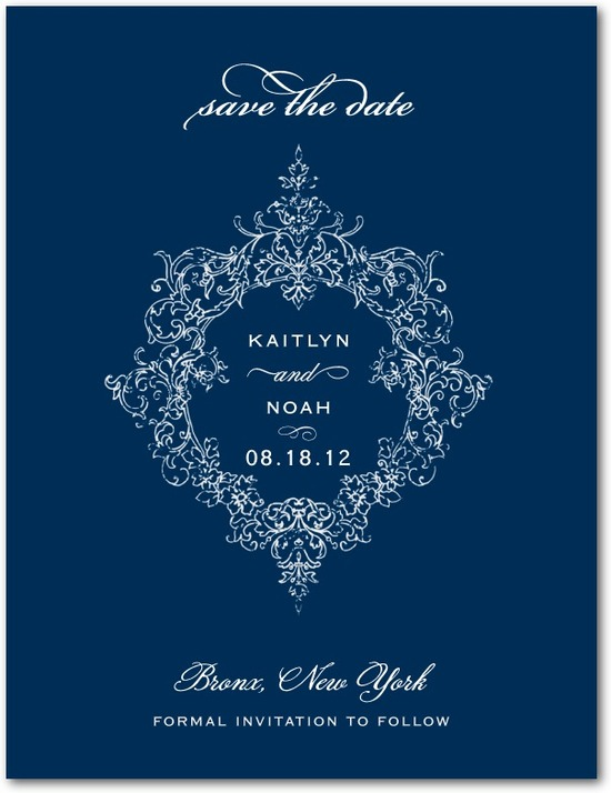 Signature white save the date cards, Opulent Crest