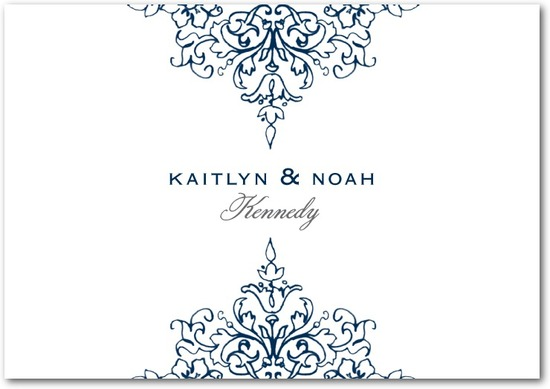 Signature white thank you cards, Opulent Crest