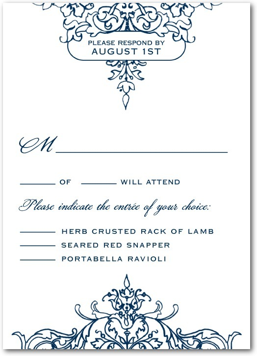Signature white wedding response cards, Opulent Crest