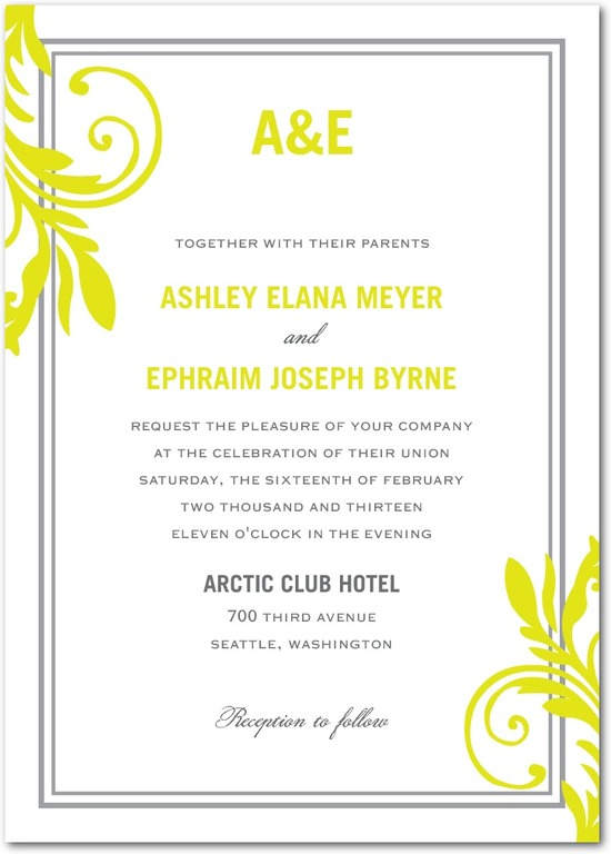 Signature white wedding invitations, Vivid Flourish