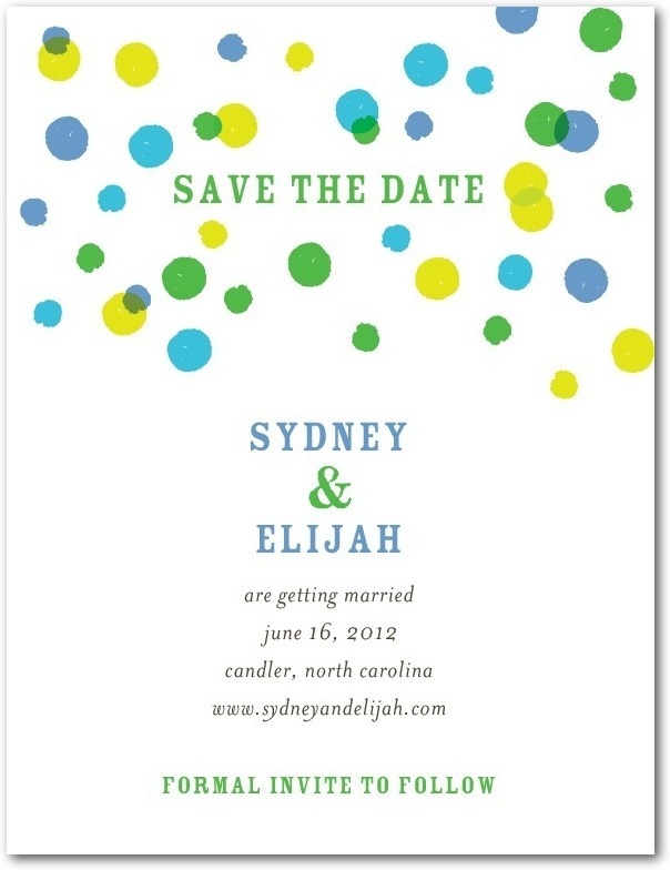 Signature white textured save the date cards, Bright Palette