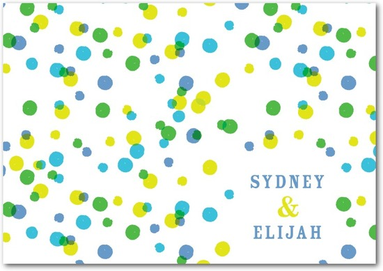 Signature white textured thank you cards, Bright Palette