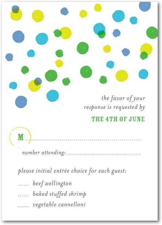 photo of Signature white textured response cards, Bright Palette
