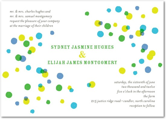 Signature white textured wedding invitations, Bright Palette