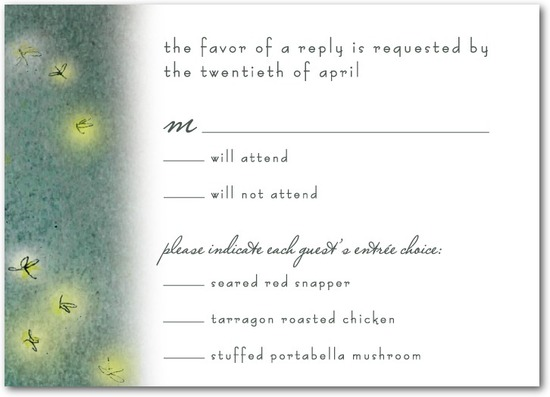 Signature white wedding response cards, Simple Pleasures