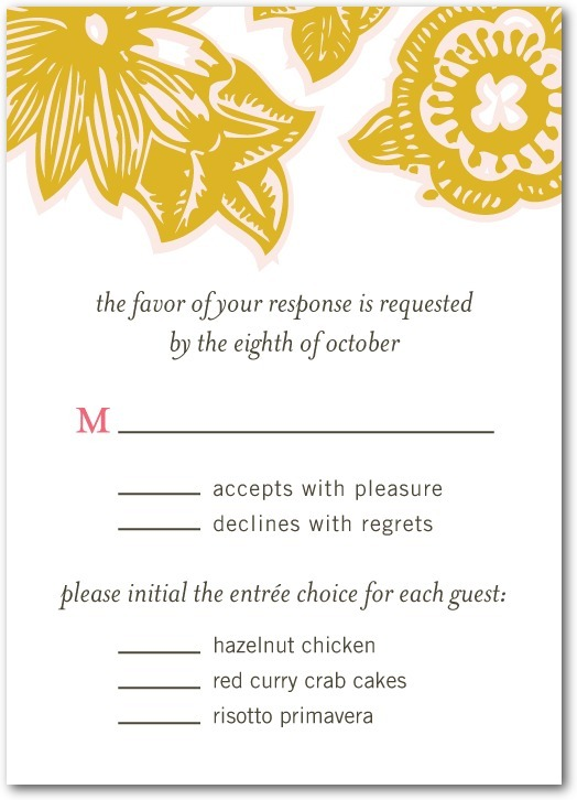 Signature white textured response cards, Botanical Lace