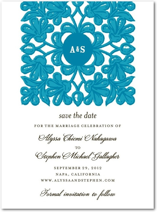 photo of Signature white textured save the date cards, Monogram Tapestry