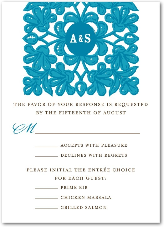 photo of Signature white textured response cards, Monogram Tapestry
