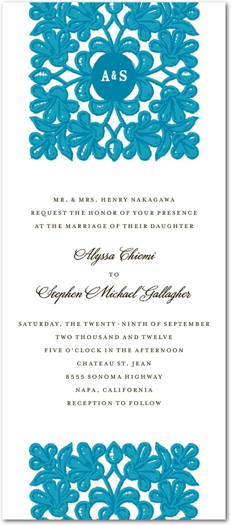 photo of Signature white textured wedding invitations, Monogram Tapestry