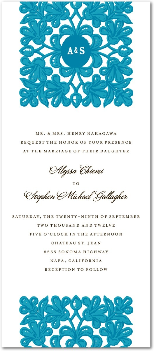 Signature white textured wedding invitations, Monogram Tapestry