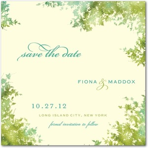 photo of Signature ecru save the date cards, Dappled Glade