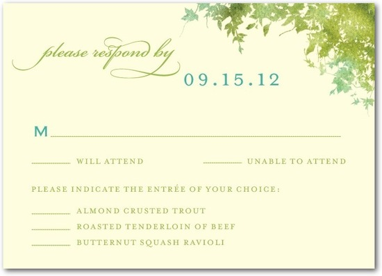 Signature ecru wedding response cards, Dappled Glade