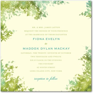 photo of Signature ecru wedding invitations, Dappled Glade