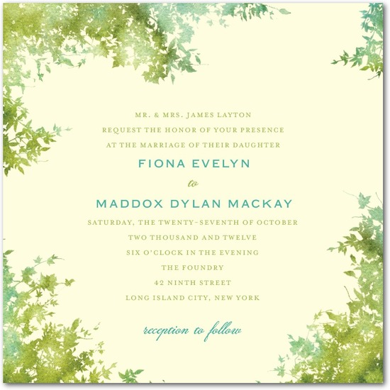 Signature ecru wedding invitations, Dappled Glade