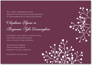 photo of Signature white wedding invitations, Delicate Spray