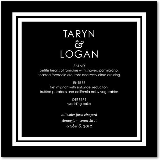 photo of Signature white menu cards, Boldly Elegant