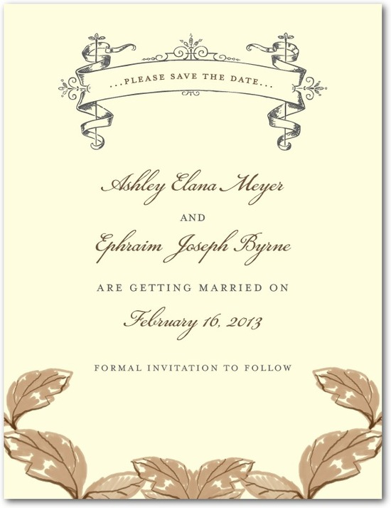 Signature ecru save the date cards, Enchanting Story