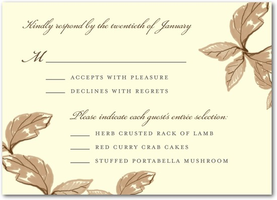 Signature ecru wedding response cards, Enchanting Story