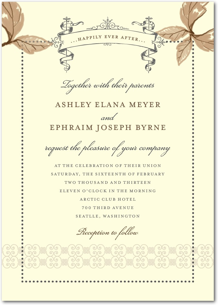 Signature ecru wedding invitations, Enchanting Story