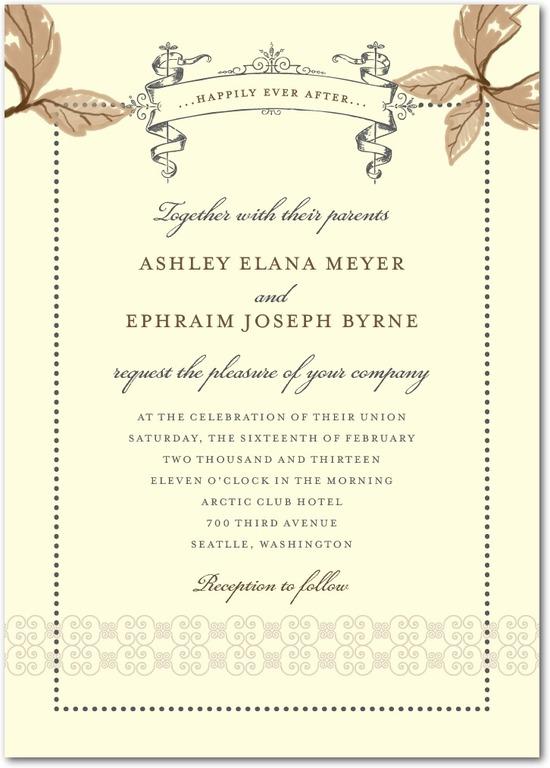 photo of Signature ecru wedding invitations, Enchanting Story