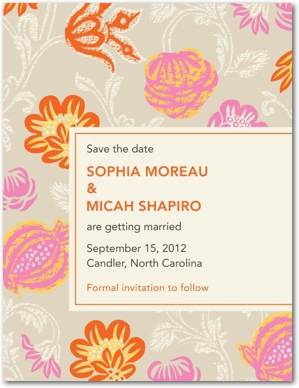 Signature white save the date cards, Bouquet Print