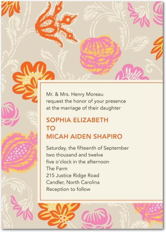 Signature white wedding invitations, Bouquet Print