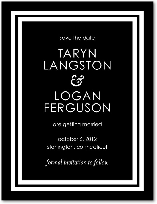photo of Signature white save the date cards, Boldly Elegant