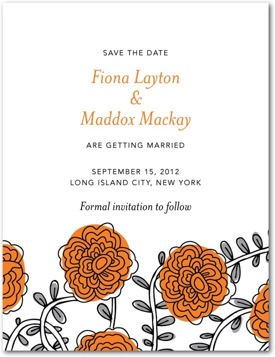 photo of Signature white textured save the date cards, Dahlia Daydream