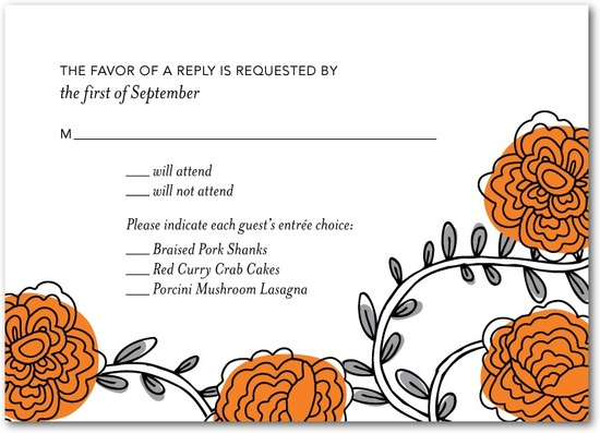 photo of Signature white textured response cards, Dahlia Daydream