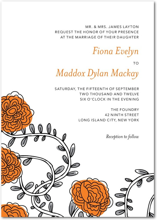 photo of Signature white textured wedding invitations, Dahlia Daydream