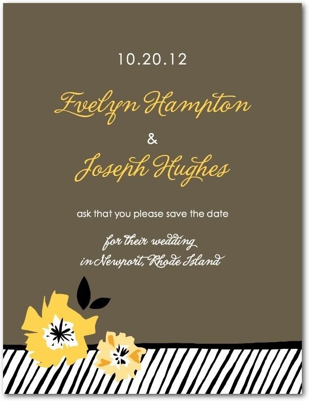 photo of Signature white save the date cards, Textured Bouquet