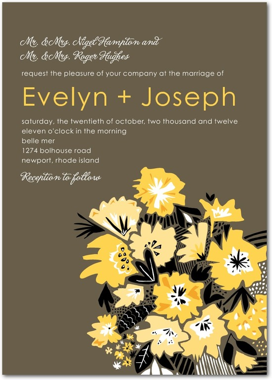 photo of Signature white wedding invitations, Textured Bouquet