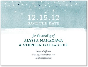 photo of Signature white textured save the date cards, Softly Sparkling