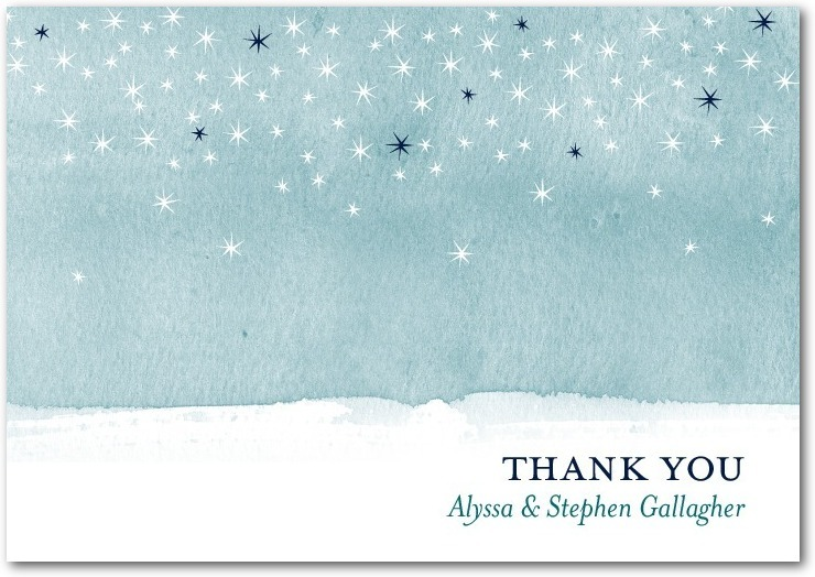 Signature white textured thank you cards, Softly Sparkling
