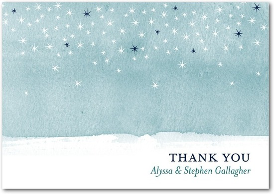 photo of Signature white textured thank you cards, Softly Sparkling