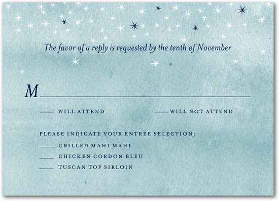 Signature white textured response cards, Softly Sparkling